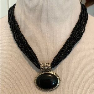 Jewelry - Black pendant on beaded strands necklace